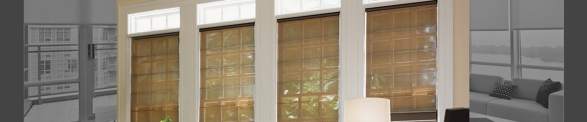 Woven roman shades can be motorized for easy privacy.